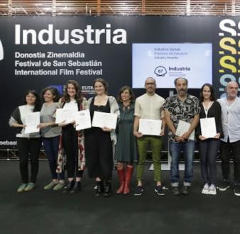 Todos los galardonados con los premios de la Industria en el 67º Festival de San Sebastián 2019. Laura Baumeister es la cuarta de la izquierda.